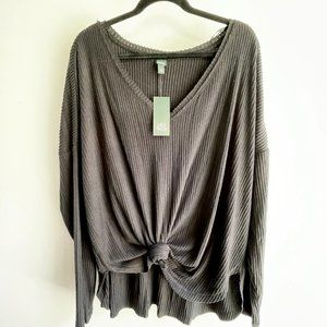 Wild Fable Ribbed Cozy V-neck T-shirt